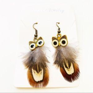 🌻 NEW! Feather Owl Earrings